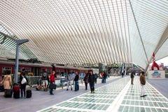 Futuristisk Liege-Guillemins järnvägsstation Arkivbild