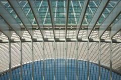 Futuristisk Liege-Guillemins järnvägsstation Fotografering för Bildbyråer