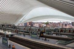Futuristisk Liege-Guillemins järnvägsstation Arkivbilder