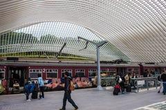 Futuristisk Liege-Guillemins järnvägsstation Arkivfoton