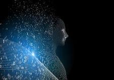 Futuristisk människa 3d över svart bakgrund Arkivbilder