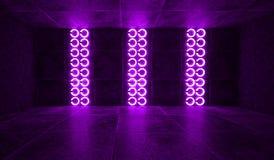 Futuristisk mörk tunnel med runda neonlampor och reflexioner vektor illustrationer