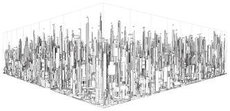 Futuristisk Megalopolisstad av skyskrapavektorn Arkivbild