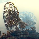 Futuristisk metallisk struktur Fotografering för Bildbyråer