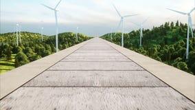 Futuristisk modern drevbortgång på den mono stången Ekologiskt framtida begrepp Flyg- natursikt photorealistic 4K vektor illustrationer