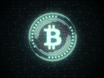 Futuristisk modern glödande Bitcoin logo stock illustrationer