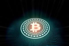 Futuristisk modern glödande Bitcoin logo på digital binär bakgrund royaltyfri illustrationer