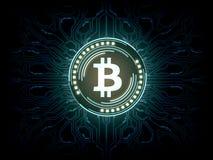Futuristisk modern glödande svävande för Bitcoin BTC logohologram över blå scifibakgrund vektor illustrationer