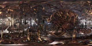 Futuristisk panorama 360 Fractalmiljö för tolkningen 3D eller VR Royaltyfria Bilder