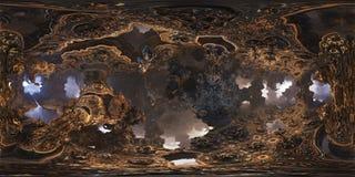 Futuristisk panorama 360 med fractalmiljön för 3D eller VR 10k Royaltyfria Bilder