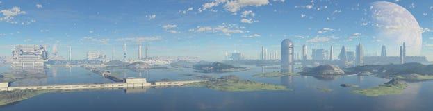 Futuristisk panorama- stad royaltyfri illustrationer