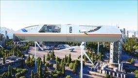 Futuristisk passagerarebuss som flyger över staden, stad Transport av framtiden framförande 3d Royaltyfri Fotografi