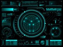 Futuristisk pekskärmanvändargränssnitt HUD Arkivfoton