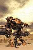 Futuristisk pilot- och stridrobotmecha stock illustrationer