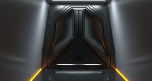 Futuristisk port för science fictionmetallrymdskepp i mörk tunnel med abstren royaltyfri illustrationer
