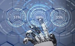 Futuristisk robothand som pekar på päfyllningscirkelcirkeln framförande 3d Fotografering för Bildbyråer