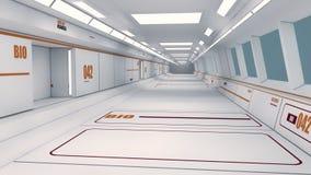 Futuristisk rymdskeppinrekorridor royaltyfri illustrationer