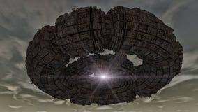 Futuristisk rymdskeppufo Arkivbild