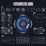 Futuristisk science fiction HUD Elements Set stock illustrationer