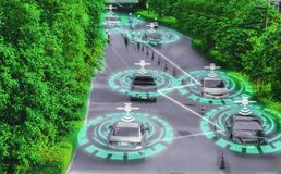 Futuristisk smart bilsnille för det intelligenta systemet för körande konstgjord intelligens för själv AI, begrepp av körning av  royaltyfri bild