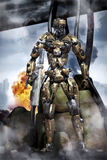 Futuristisk soldat för robot i strid Royaltyfria Bilder