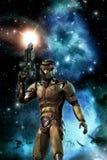Futuristisk soldat och starfield med nebulosan och solen Arkivbilder