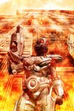 Futuristisk soldat på kriget stock illustrationer