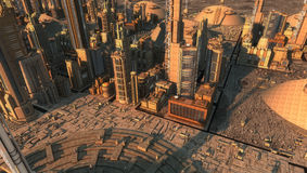 Futuristisk stad Arkivbild