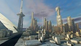 Futuristisk stad Arkivbilder
