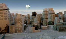 Futuristisk stad stock illustrationer