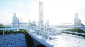 Futuristisk stad, stad Begreppet av framtiden flyg- sikt framförande 3d royaltyfri illustrationer