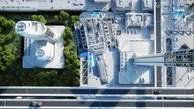 Futuristisk stad, stad Begreppet av framtiden flyg- sikt framförande 3d stock illustrationer