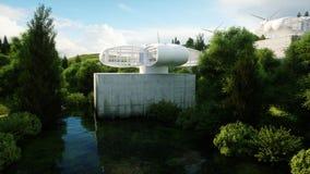 Futuristisk stad, by Begreppet av framtiden flyg- sikt framförande 3d Fotografering för Bildbyråer