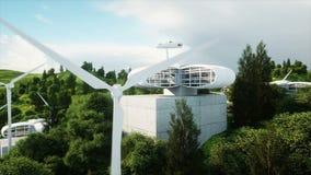 Futuristisk stad, by Begreppet av framtiden flyg- sikt Realistisk animering 4K