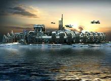 Futuristisk stad med marina och hoovering flygplan Arkivfoto