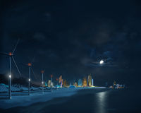 Futuristisk stad. Natt arkivbild