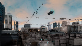 Futuristisk stad och skepp Royaltyfri Fotografi
