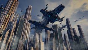 Futuristisk stad och skepp Arkivbild