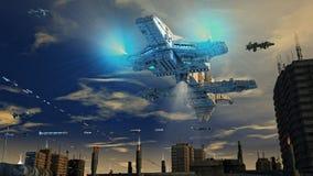 Futuristisk stad och skepp Royaltyfria Foton