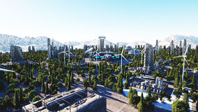 Futuristisk stad, stad Arkitektur av framtiden flyg- sikt framförande 3d Royaltyfri Fotografi