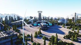 Futuristisk stad, stad Arkitektur av framtiden flyg- sikt framförande 3d royaltyfri illustrationer