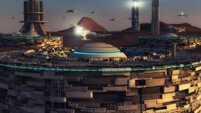Futuristisk stads- och främlingplanet royaltyfri illustrationer