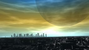 Futuristisk stadshorisont för främmande planet Arkivfoton