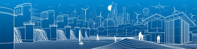 Futuristisk stadslivinfrastruktur Industriell energiillustrationpanorama Hydrokraftverk Flodfördämning Gå för folk modernt royaltyfri illustrationer