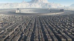 Futuristisk stadsSCIFI Arkivfoton