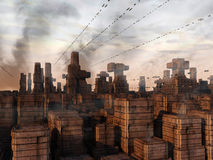 Futuristisk stadsSCIFI Arkivbild
