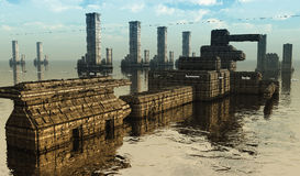 Futuristisk stadsSCIFI Fotografering för Bildbyråer