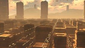 Futuristisk stadsSCIFI Arkivfoto