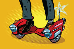 Futuristisk steampunksparkcykelskateboard stock illustrationer