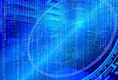 Futuristisk techintrig på bakgrund av fantastiska symmetriska nummervärddatorer Arkivbilder